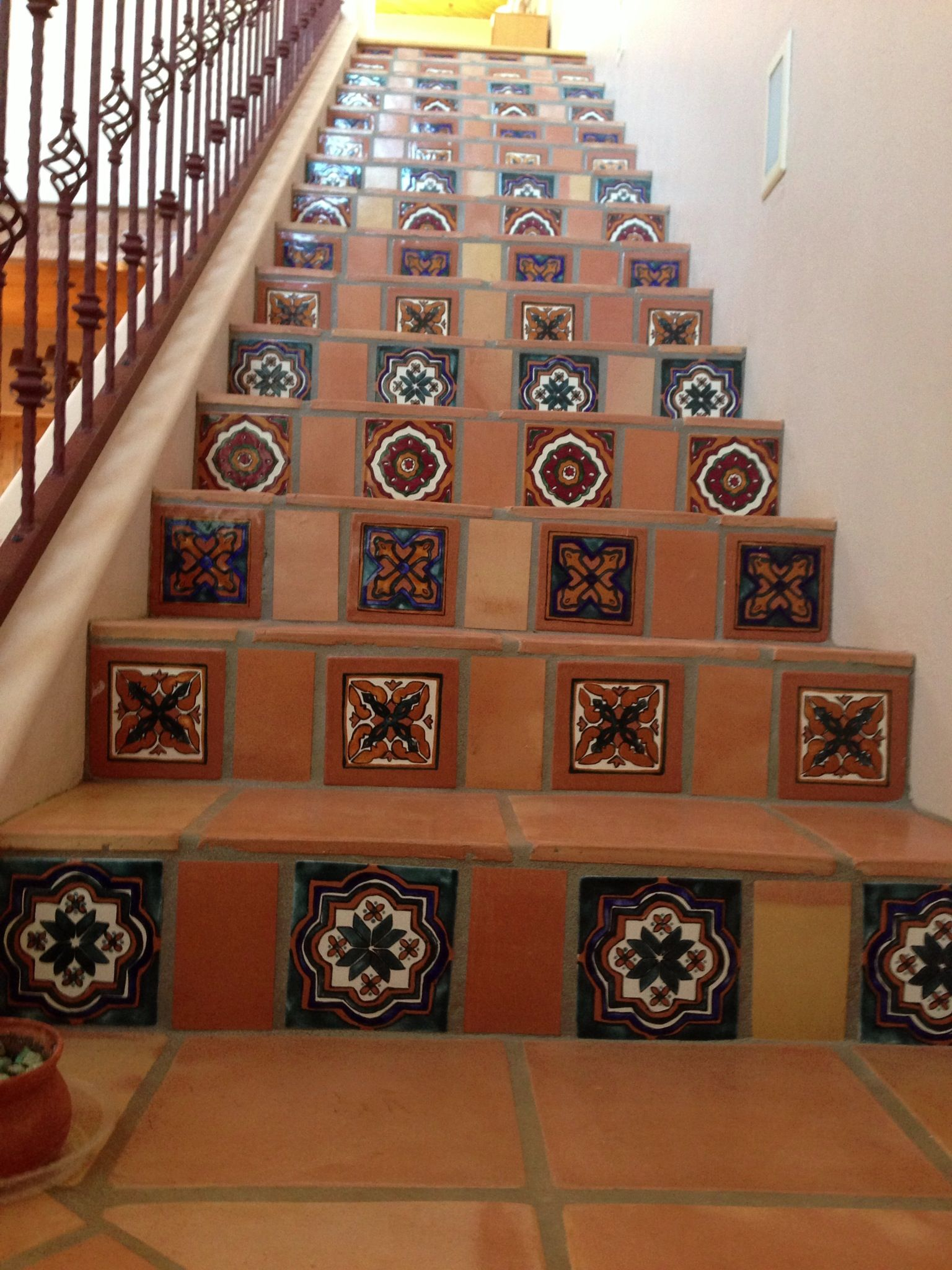 Mexican Tiles Hand Painted And Saltillo In Stairs To