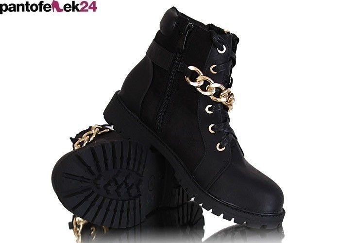 Militarne Botki Ze Zlotym Lancuchem A1 2 N37 Sx Black Black Timberland Boots Shoes