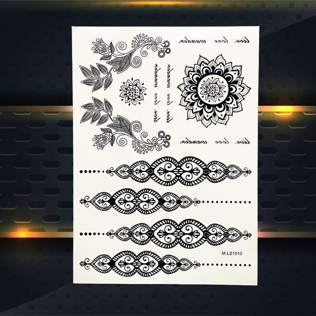 25 Magnificent Henna Cuff Designs For Inspiration: Waterproof Black Temporary Tattoo Mandala Design