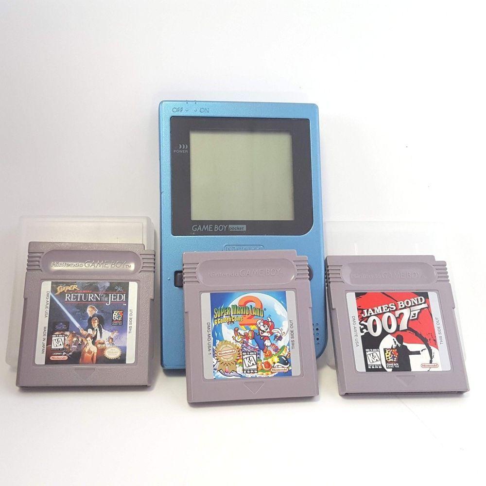 Nintendo Game Boy Pocket Ltd Ice Blue + 3 Games Super Mario Star Wars James Bond #Nintendo