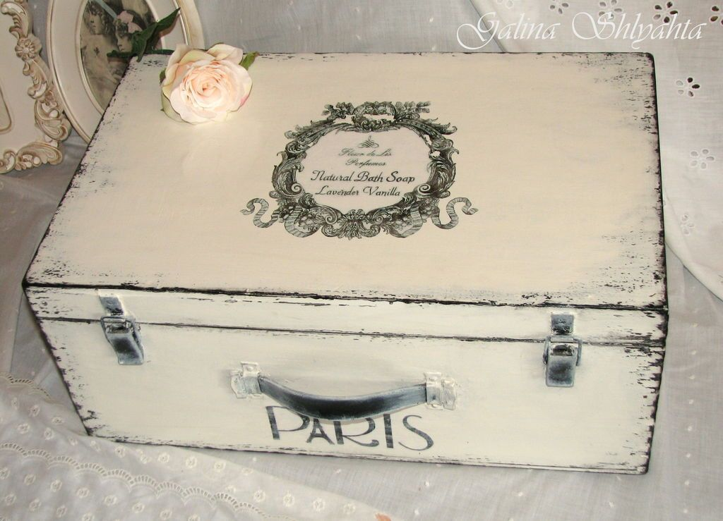 Декупаж старого чемодана своими руками мастер класс салфетками 70