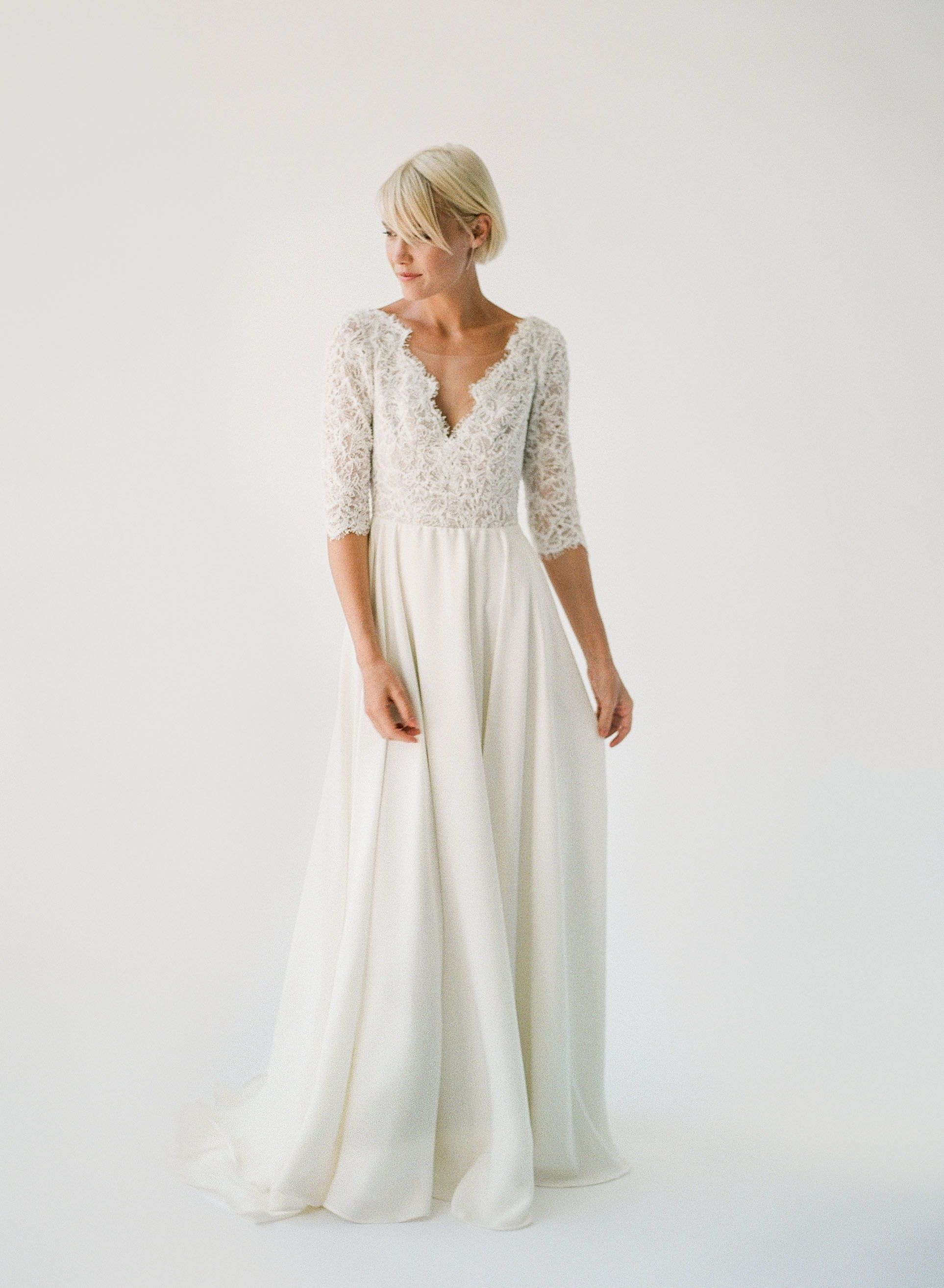 Flowy wedding dress with sleeves  Truvelleus  Collection  Allanah by Truvelle  romantic wedding
