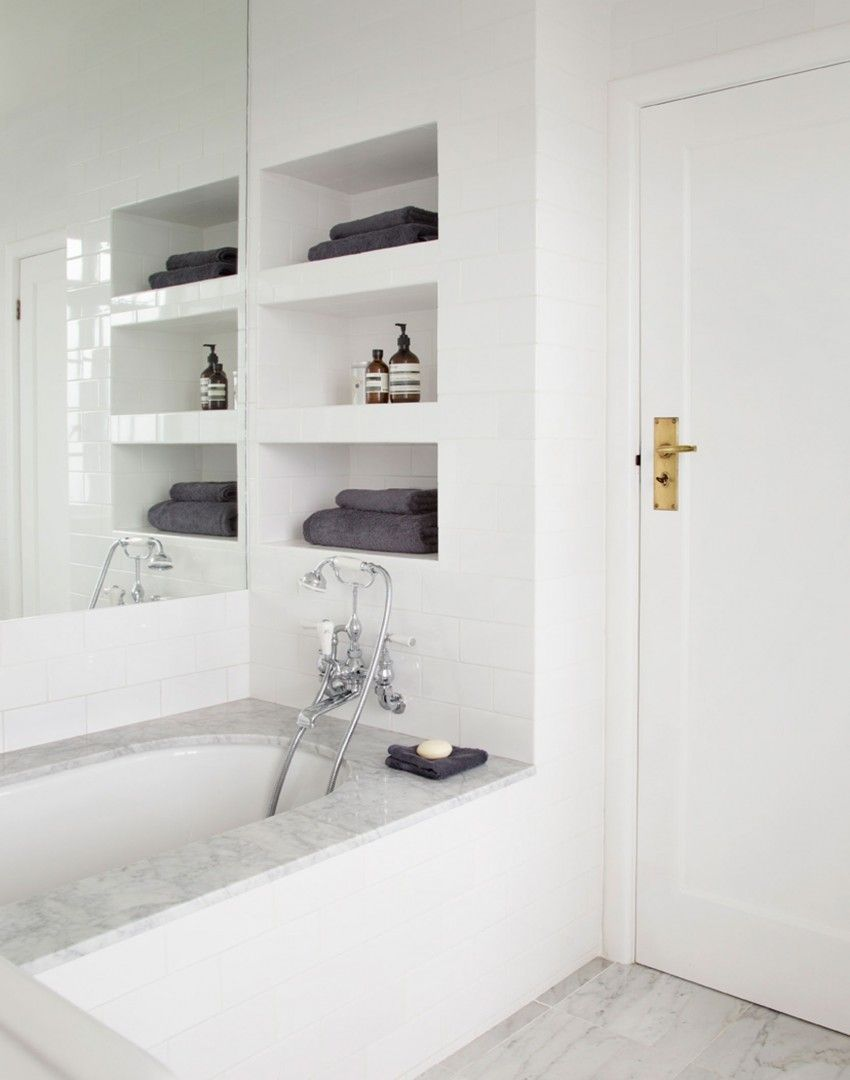 Bright White Modern Bathroom with Recessed Shelving