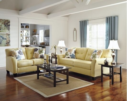 Beautiful Living Room Design with Pale Yellow Couches ...