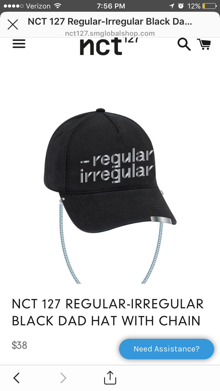 2577e0f93e5 NCT 127 Regular-Irregular Black Dad Hat with Chain in 2019 ...