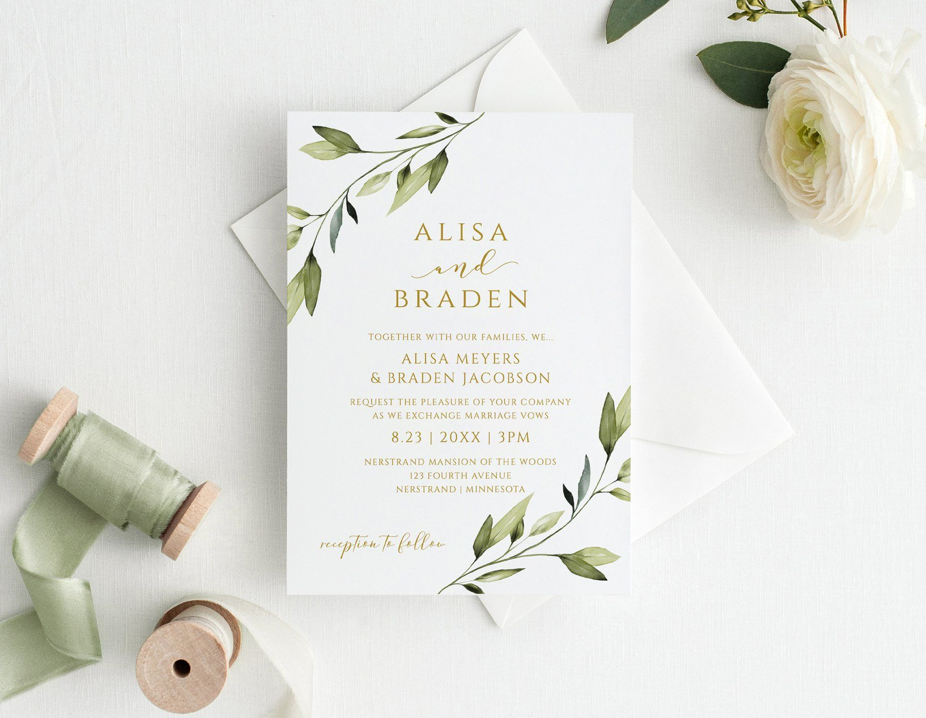 Wedding Invitation Template  4 x 4  Ethereal Greenery  Templett