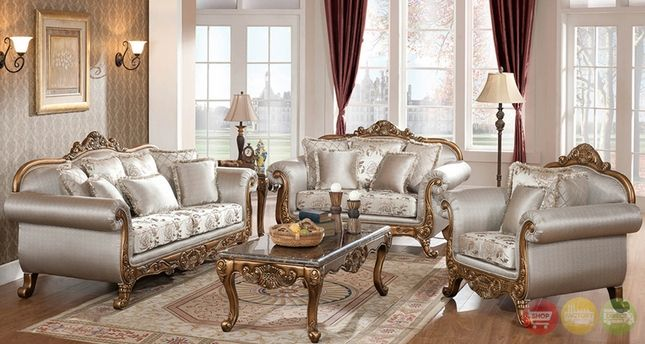 Metallic Finish Formal Sofa Set