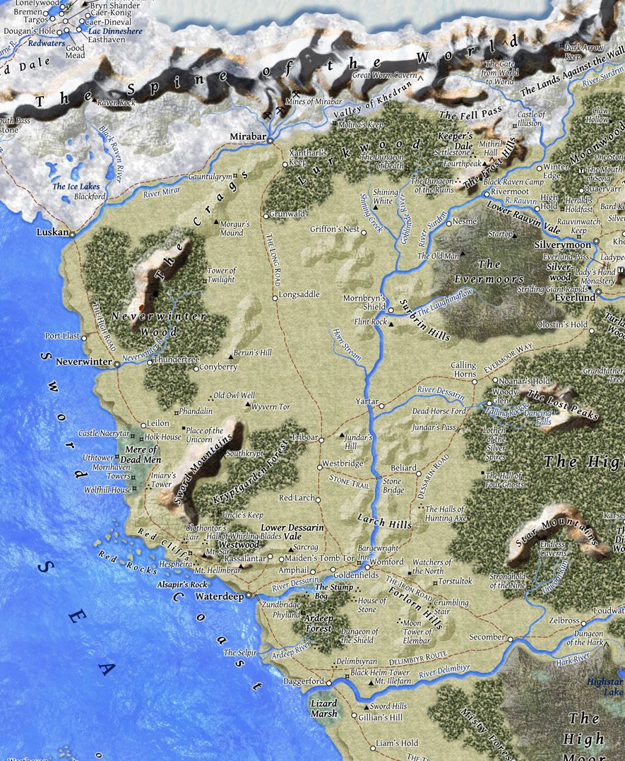 Sword Coast North | Kya | Fantasy map, Map, Forgotten realms