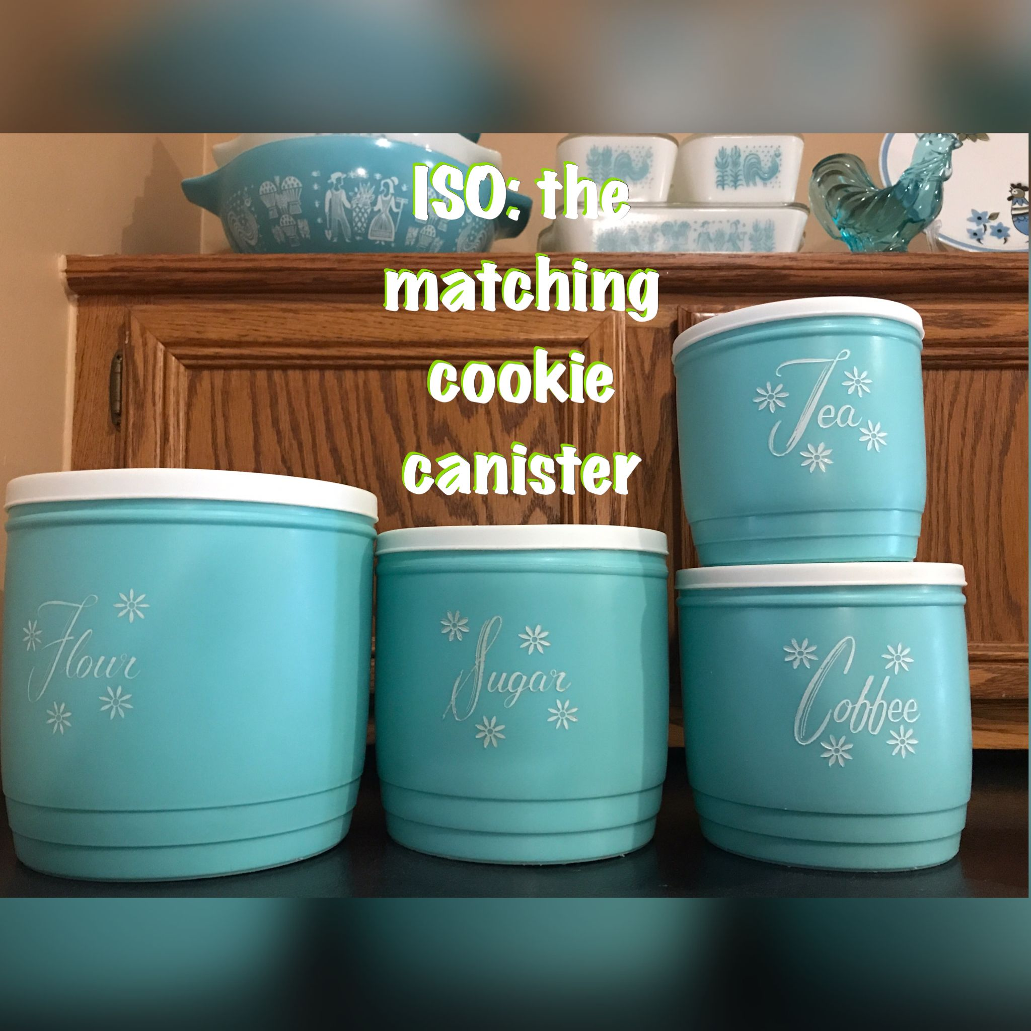 Vintage Kitchen Plastic Turquoise / Teal Kitchen Canisters. Love Them. I  Need The Cookie