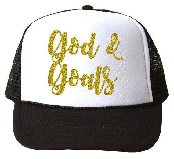 2c6d2051361 Women s Trucker Hat - God  amp  Goals - Inspirational Hat - Mom Boss -  trendy