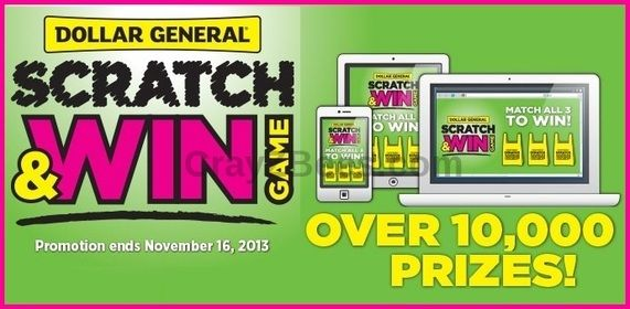 Dollar General Scratch Win Instant WIN Game Redbox DVD RentalsITunesGas Gift Cards Enter DAILY Ends 11 16