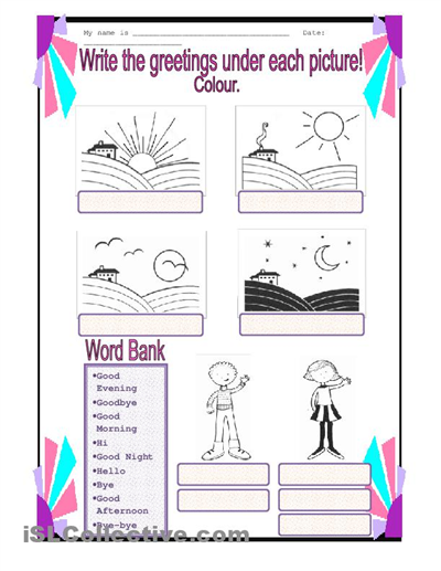 spanish worksheets for kindergarten | Spanish Greetings Worksheet ...
