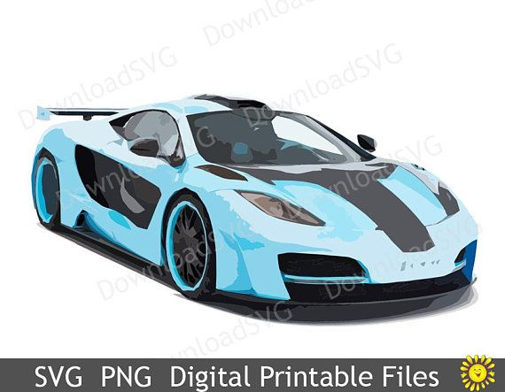 SVG PNG Blue Sport Car Digital Printable Image Teenager Room Decoration  Vehicle Boy Decor Clipart Home