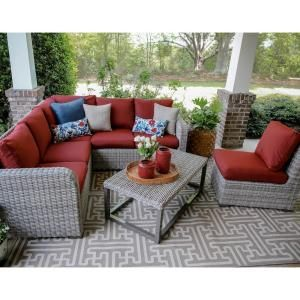 Leisure Made Forsyth 5 Piece Wicker Outdoor Sectional Set With Red Cushions 299231 Red With Images Wicker Outdoor Sectional Conversation Set Patio Outdoor Furniture Sets