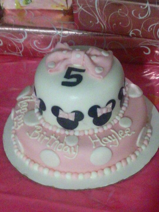 Pink & white Minnie Mouse cake I made for my daughter's bday