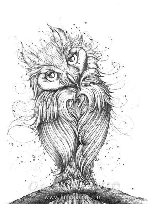 loving you owl art print by lunarianart on etsy. Black Bedroom Furniture Sets. Home Design Ideas