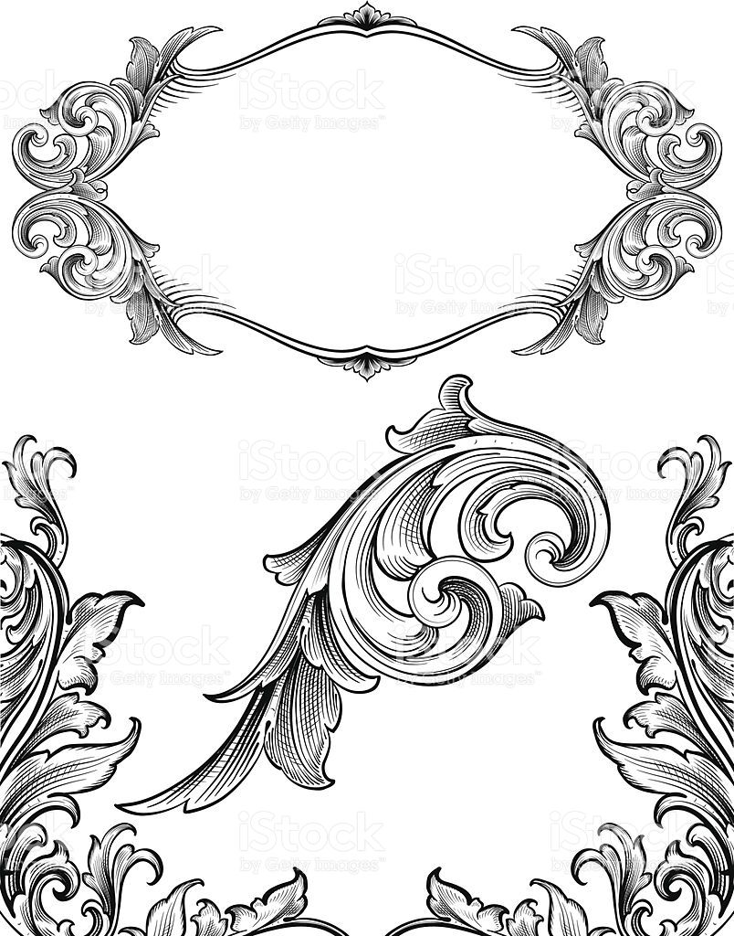 Designed by a hand engraver. Frame, corners and ornament
