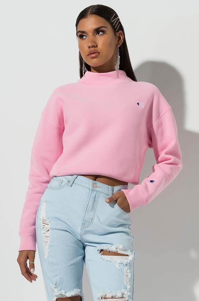 Champion Reverse Weave Moch Neck Crop Sweatshirt With Left Chest Champion Clothing Aesthetic Clothes Sweater Fashion [ 1209 x 800 Pixel ]
