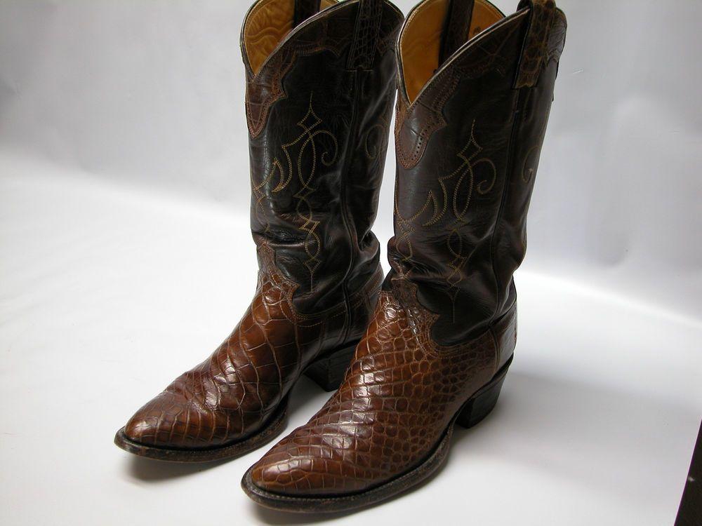 10e48723824 Vintage Justin Mens Cowboy Boots #9712 Sz 8.5D Reptile Brown Leather ...