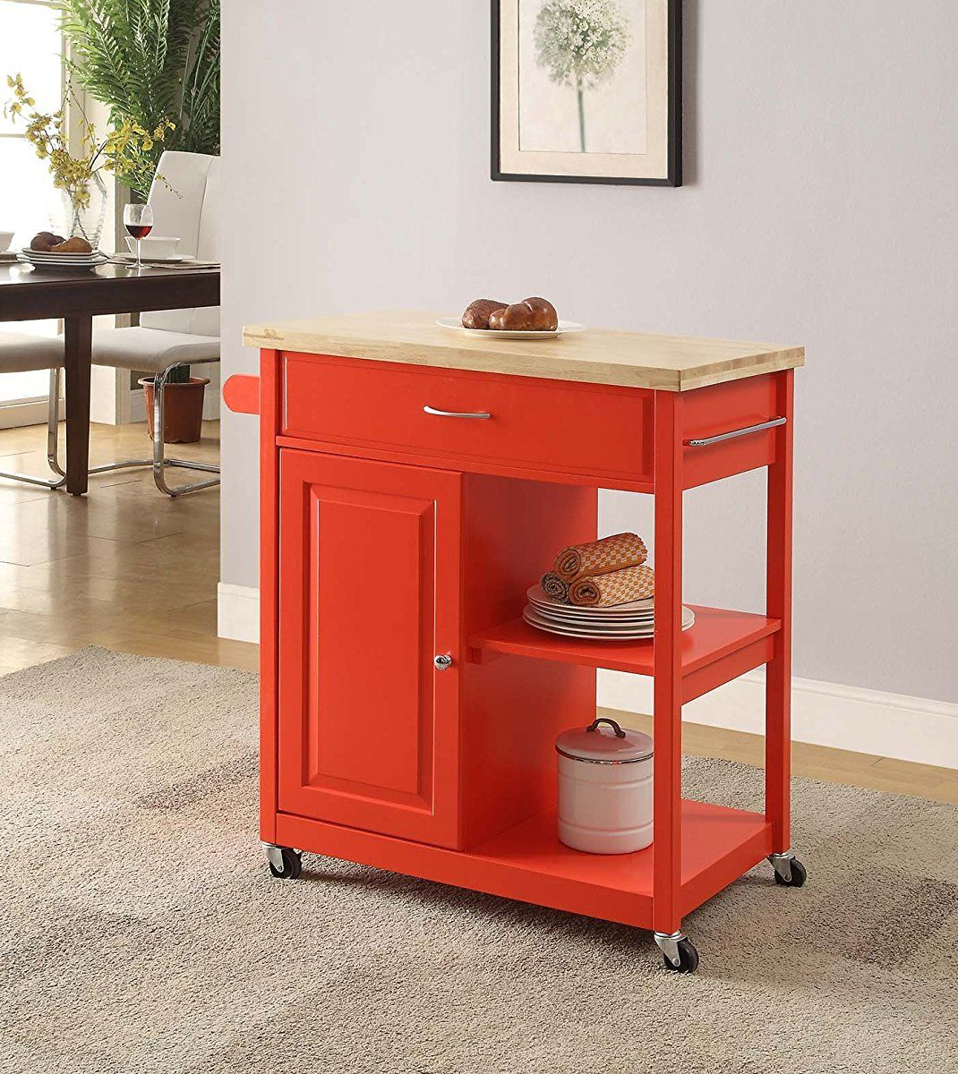 Genial Mobile Kitchen Island Cart On Wheels   Red