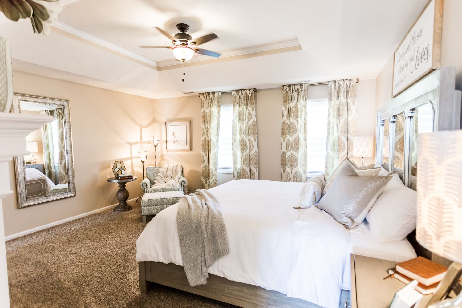 Neutral Romantic Master Bedroom With Fireplace Fluff Interior