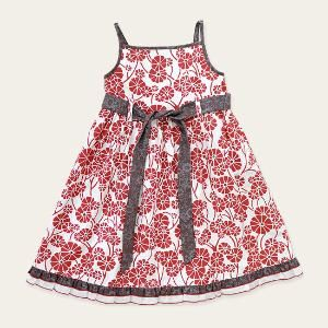 Cotton Dress in Red Daisy Print for Summer  Fair Trade Baby Girls Fashion from Eternal Creation