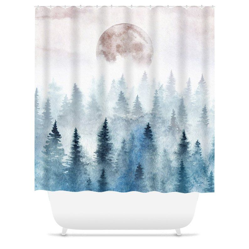 Watercolor Landscape Shower Curtain Moon Shower Curtains