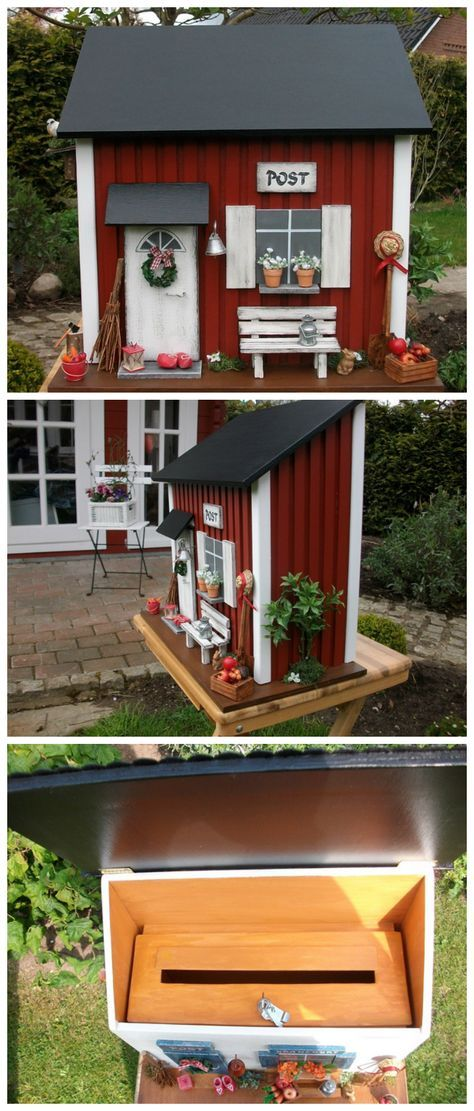 traditionelles schwedisches haus als origineller briefkasten garten dekoration traditional. Black Bedroom Furniture Sets. Home Design Ideas