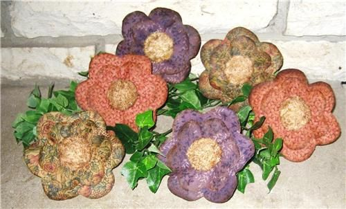 Quilted fabric flowers