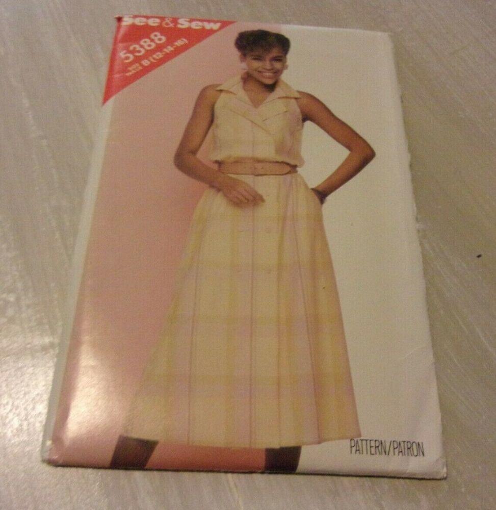 Butterick 5388 Sewing Pattern Sleeveless Dress Size 12 14 16 Uncut 1985 Ebay Dresses Sleeveless Dress Sewing Patterns [ 1000 x 973 Pixel ]