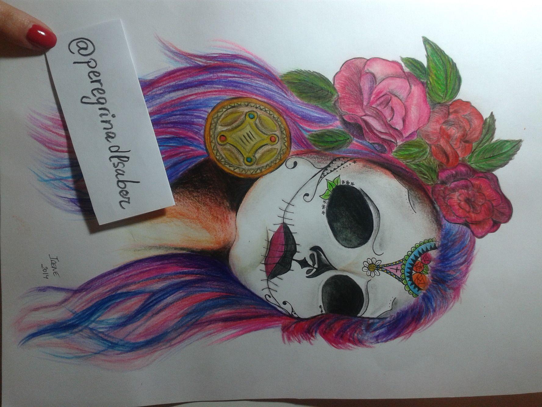 Este Es Uno De Mis Pocos Dibujos A Color Arte Catrina México