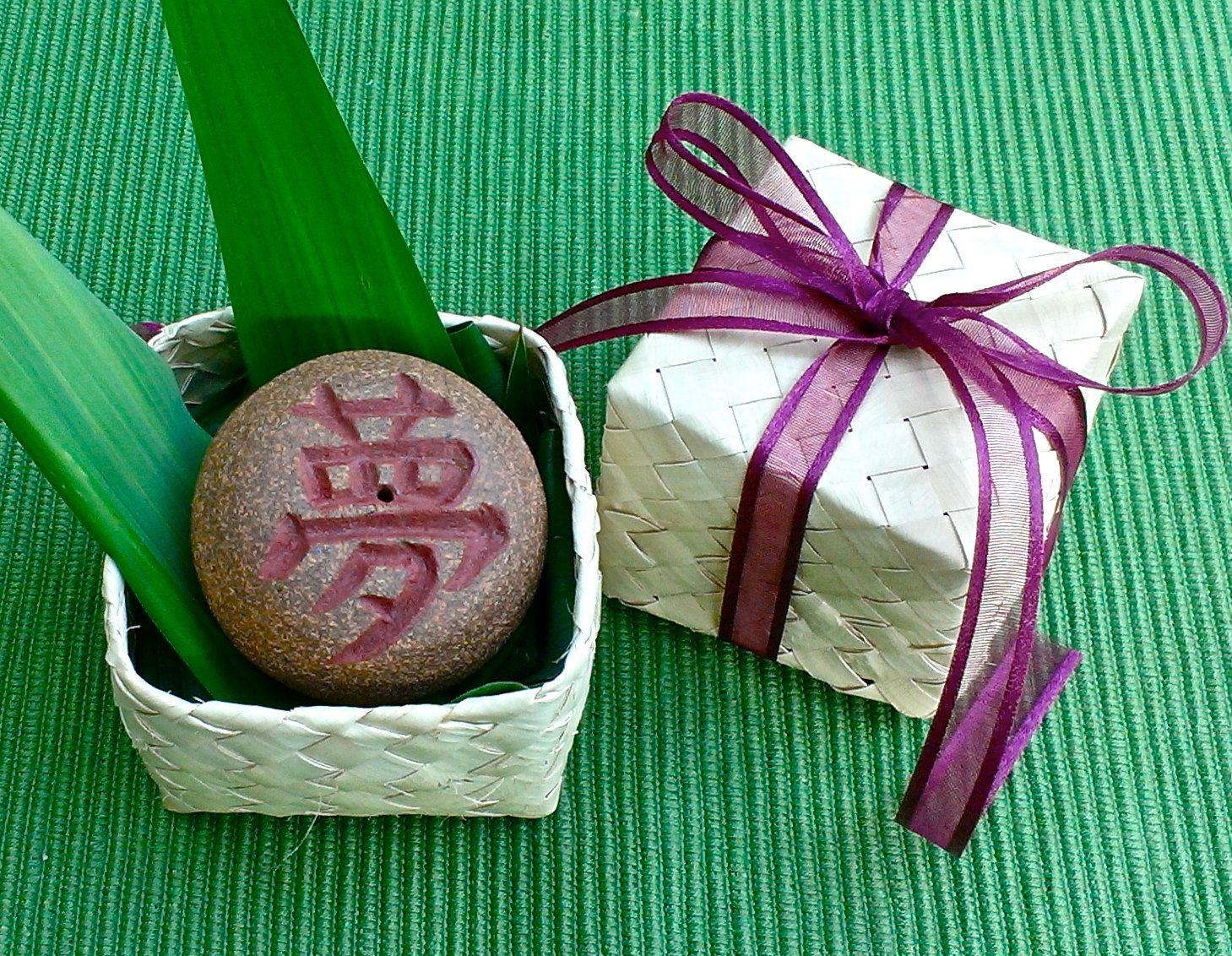 """Japanese Kanji Rock with Hawaiian Lauhala gift box, Ceramic Incense burner, Dream, Butterfly, Dance, Holiday Good-luck gift, 2""""D x 1 1/2""""H by AumakuaPottery on Etsy"""