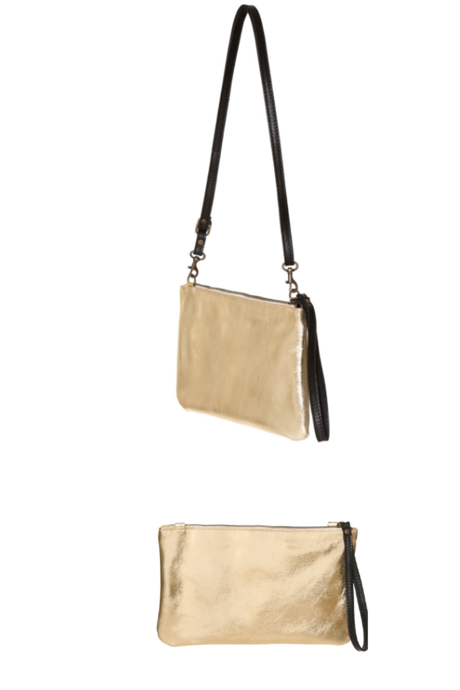 88d839a6 Gold leather small clutch and crossbody bag. Metallic leather purse ...