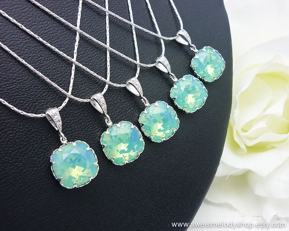 Bridesmaid Wedding Necklaces Bridal Jewelry Pacific Opal Swarovski Crystal Square Drop Necklace Mint Blue Green Necklace