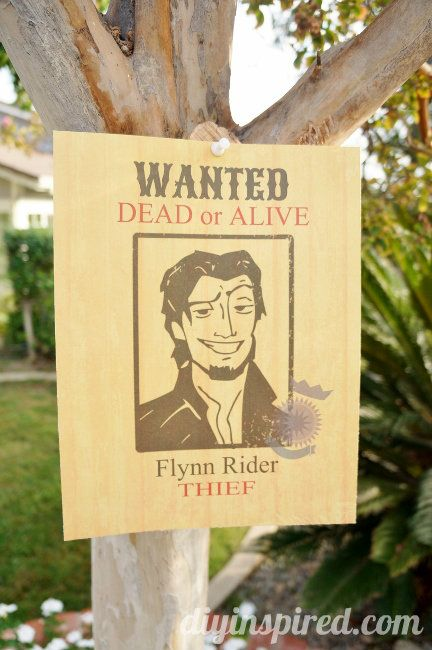 Flynn Rider Wanted Poster Printable Tangled Birthday Party