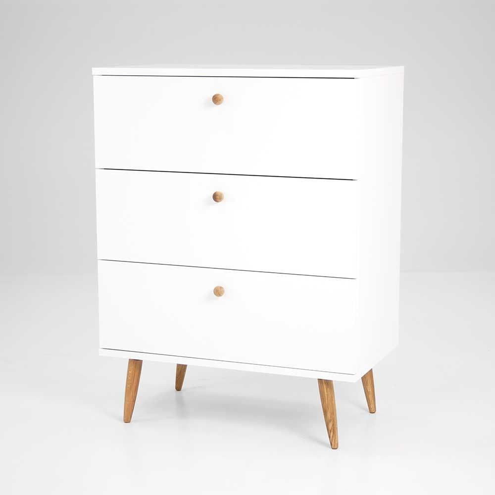 Retro Kommode Omie in Weiß lackiert mit 3 Schubladen | Wohnideen ...