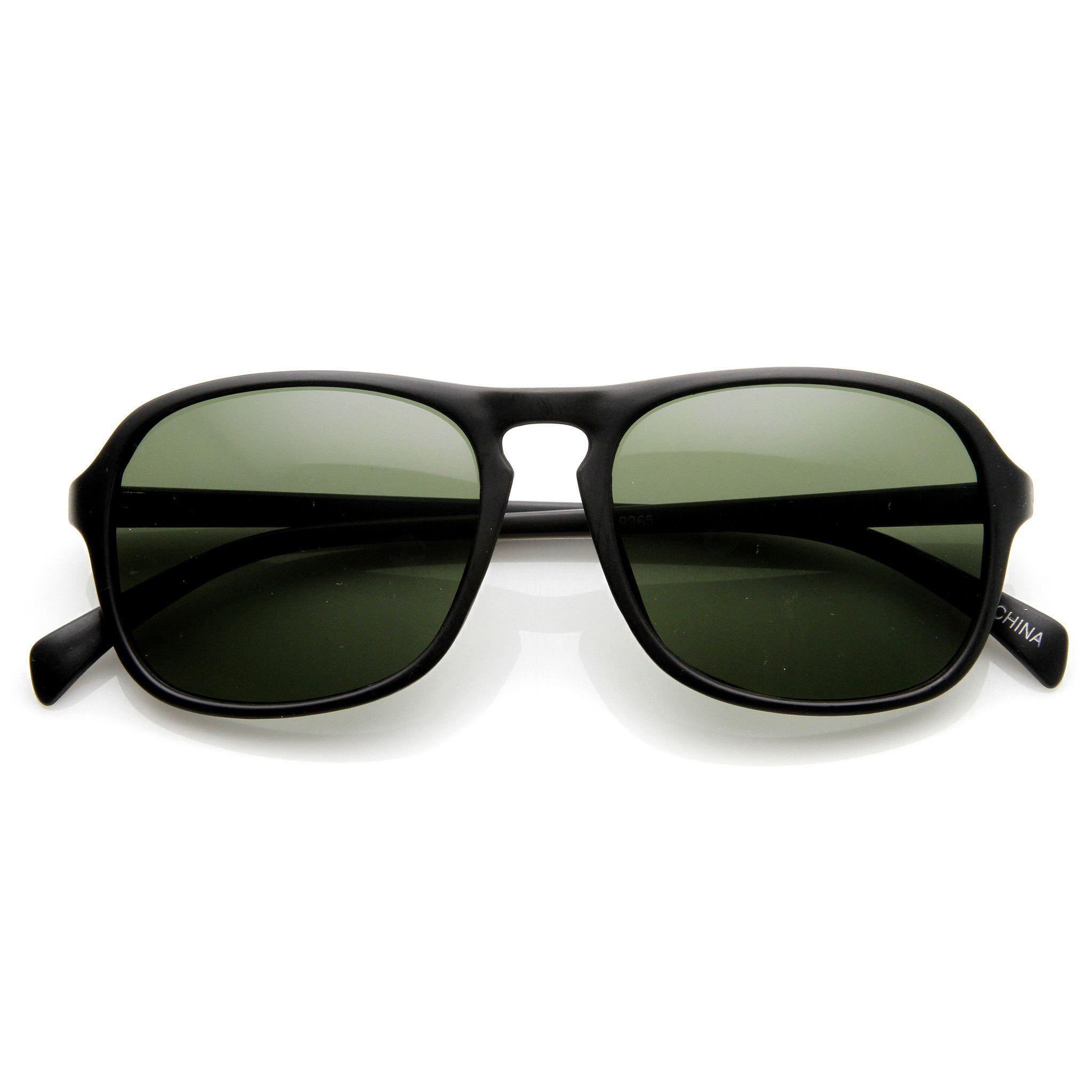 Mens Retro Fashion Keyhole Square Aviator Sunglasses 9176