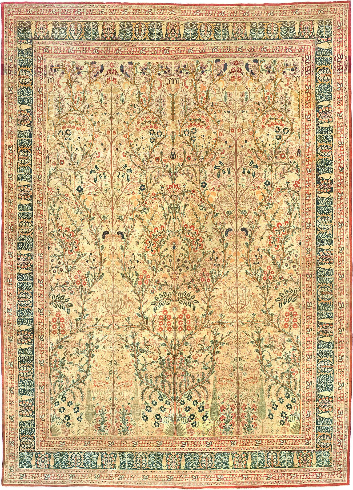 Antique tabriz persian rug 3247 detail large view by for Alfombras orientales antiguas