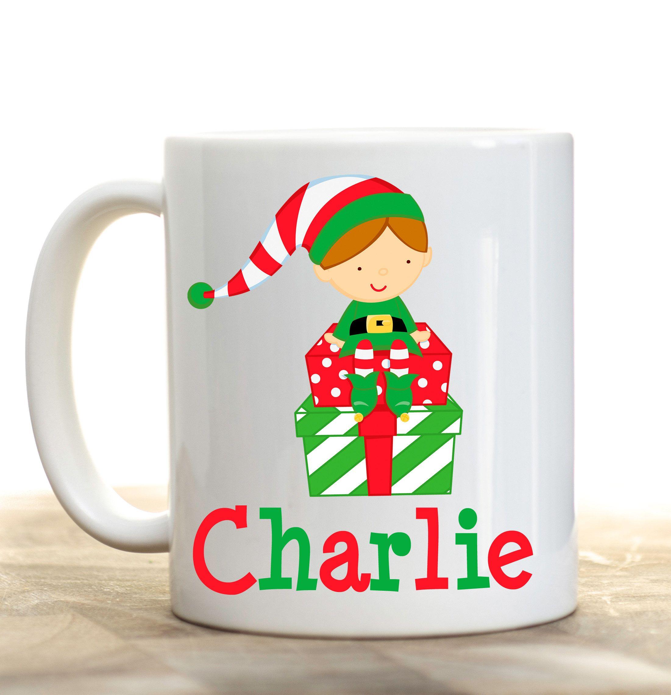 Elf Christmas Mug, Kids Mug, Kids Personalized Cup, Elf Personalized ...