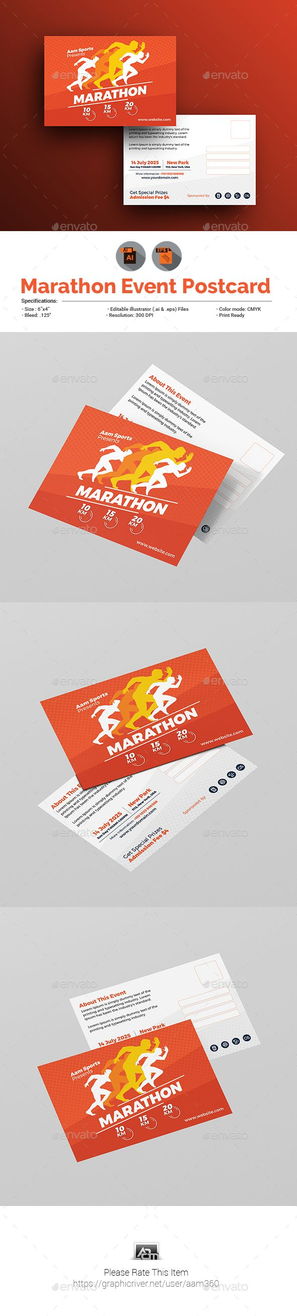 Marathon Event Postcard Template Cards Invites Print