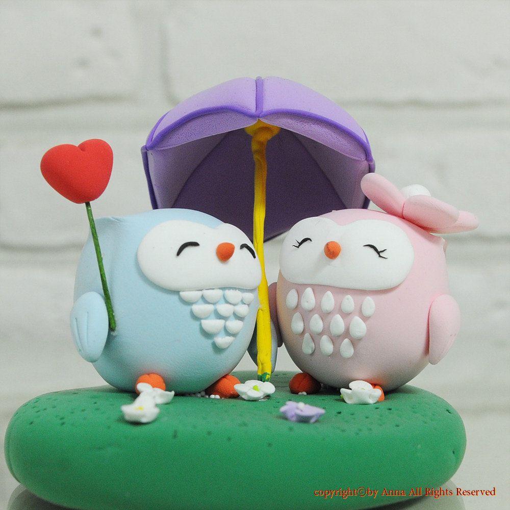 Custom wedding cake topper love owl sharing umbrella cake