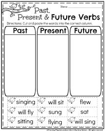 First Grade Worksheets for May - Past, Present and Future Verbs