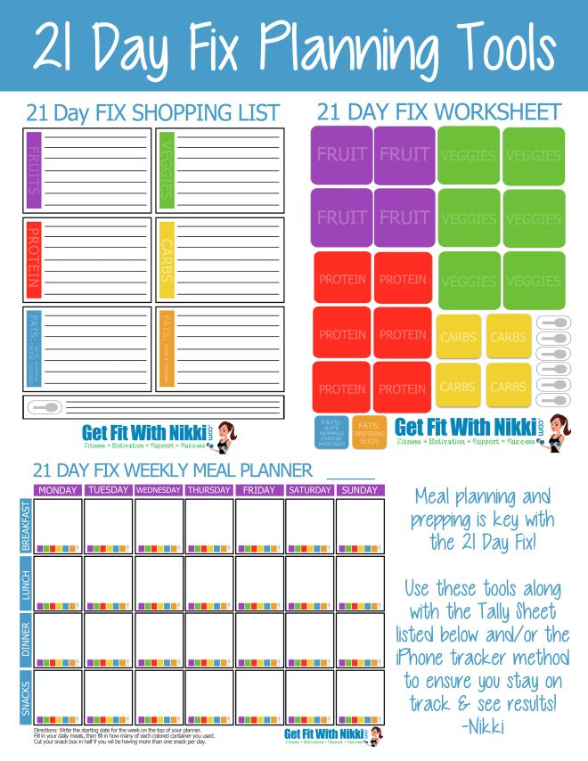 Printable 21 Day Fix Printable Meal Planning Tools  Tracking Sheets