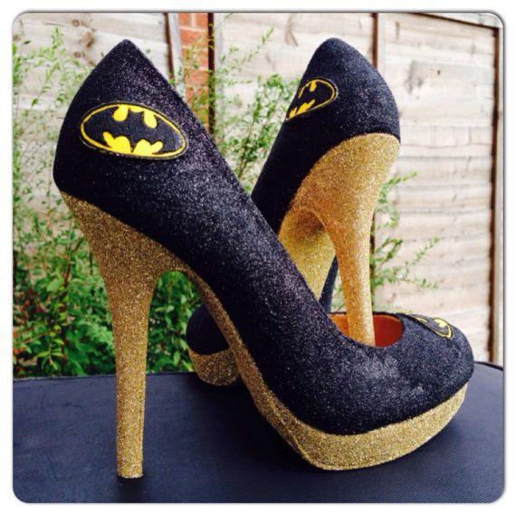 6b9a2b624 Womens Shoes Heels BATMAN Black And Gold Superhero Glitter Shoes High Heels  Fancy Dress Handmade UK Size 5