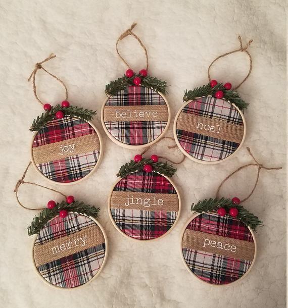 Red green tartan plaid christmas tree ornaments set holiday decor rustic farmhouse merry joy peace believe noel jingle embroidery hoop