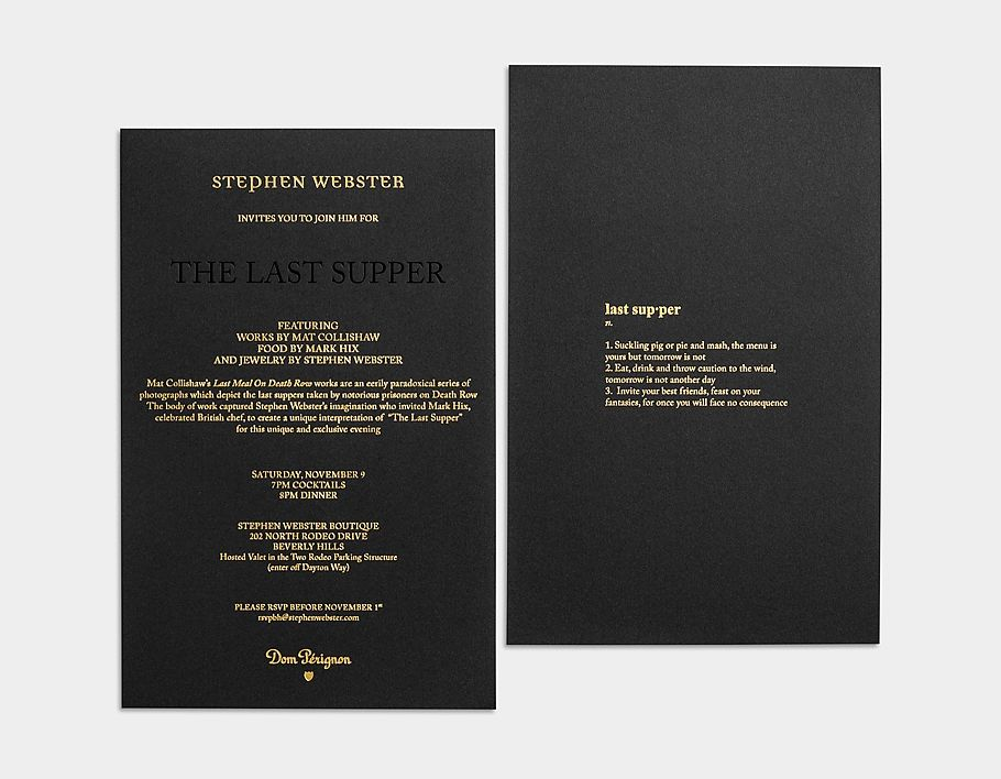 Gold Foil On Black Paper Dinner Party Invitation Stephen