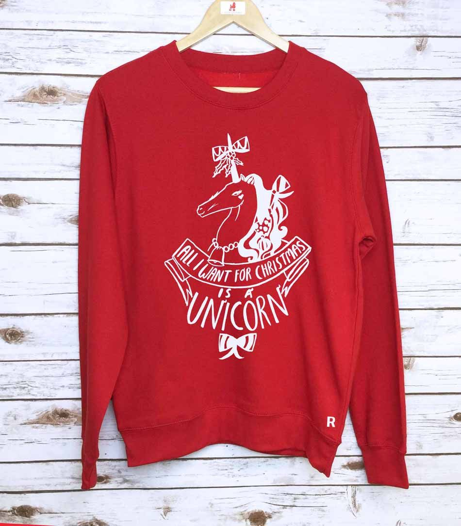 679900e6c210 Show off your unique side in this Dom and Ink print jumper this magical  season. - Text reads: All I want for Christmas is a unicorn ...