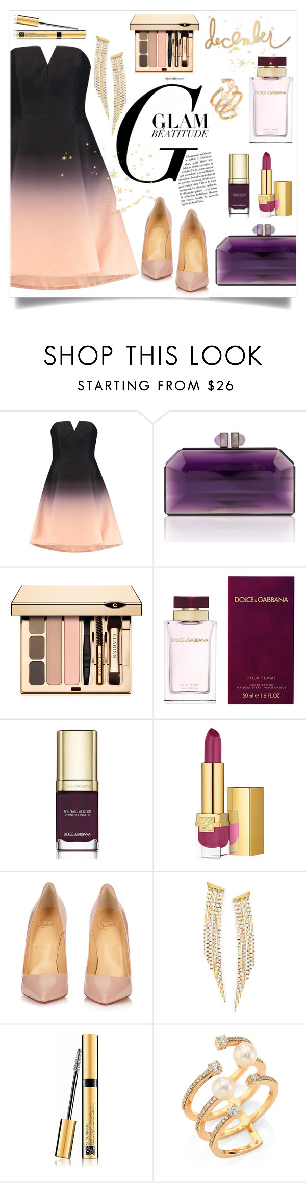 """""""Holiday Party Makeup"""" by frechelibelle ❤ liked on Polyvore featuring Halston Heritage, Dolce&Gabbana, Estée Lauder, Christian Louboutin, Lana, Hueb and Heidi Swapp"""