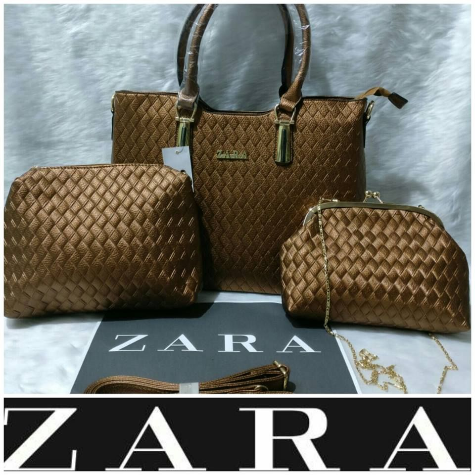 f60e609504f68 Zara Best Quality Brown 3 in 1 Combo Set of Ladies Purse | Sahiba Collection