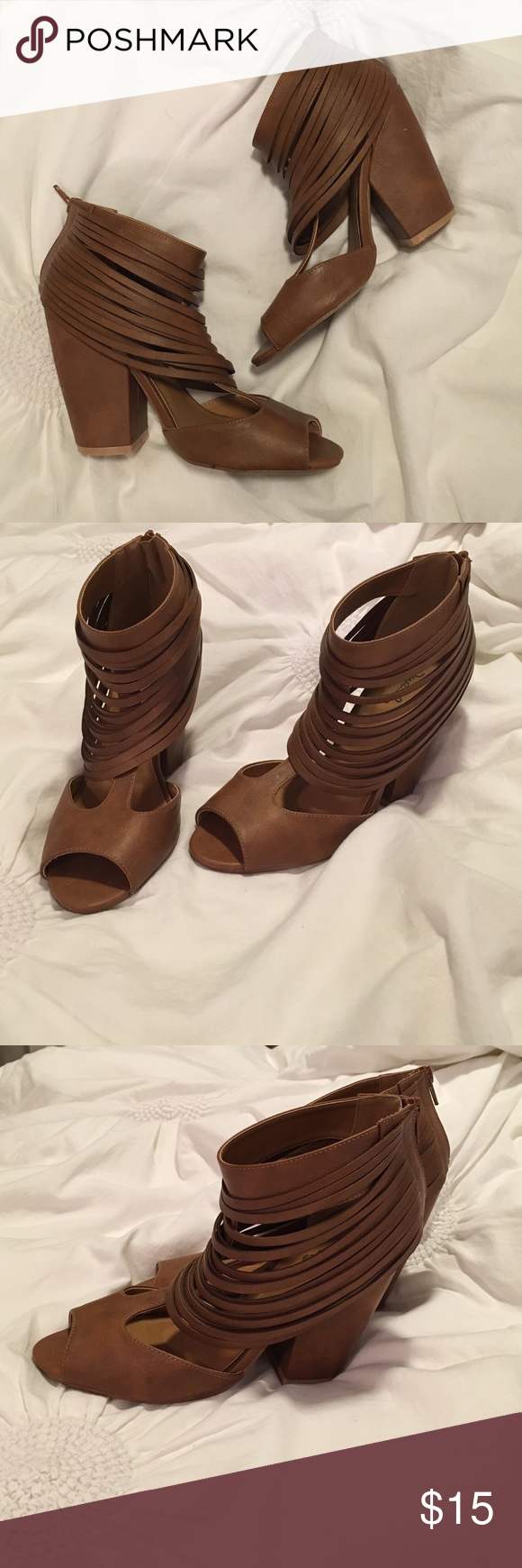 Quipid Vegan Leather Heels Brown vegan leather trendy peep toes. Bottoms lightly scuffed/dirty but super comfy! Runs a little big- size 8.5 but fits like 9. Quipid Shoes Heels